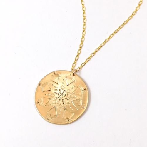 Stamped Mandala Necklace brass $35