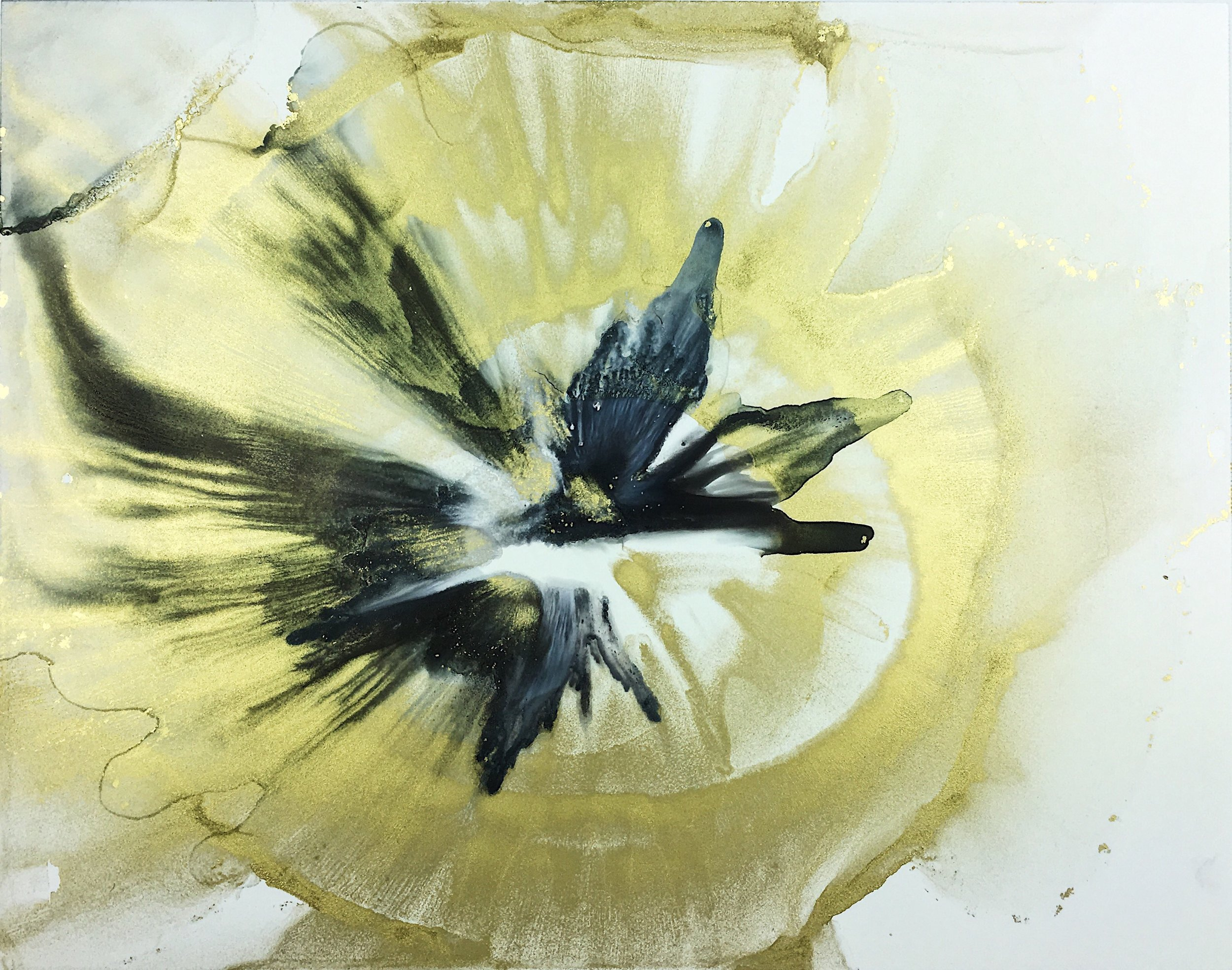 30 Days of Gold Project - Painting Number 23. 11 X 14 Alcohol Ink on Yupo - Copyright