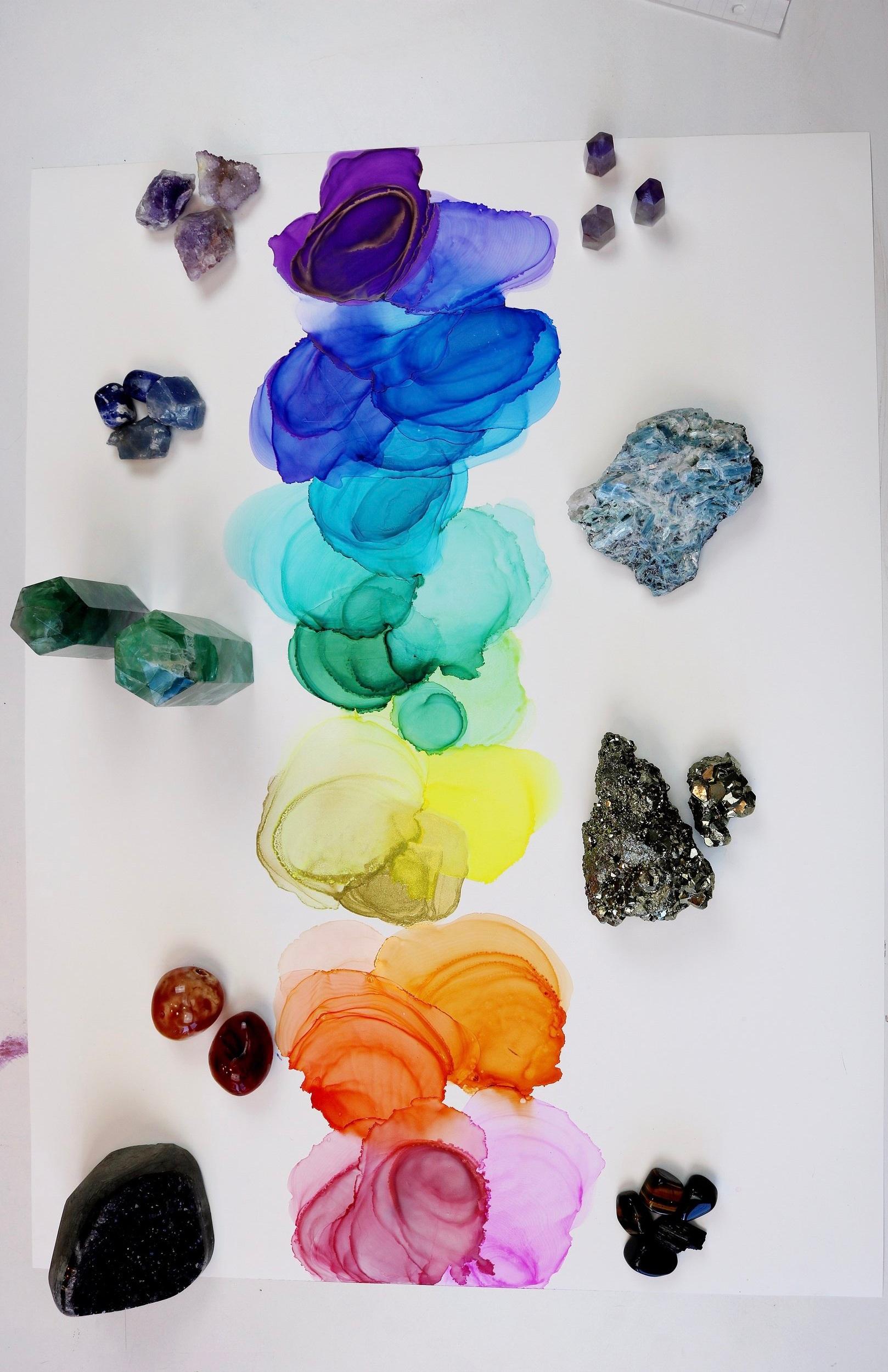 Charka painting with chakra crystals Jenna Webb Art