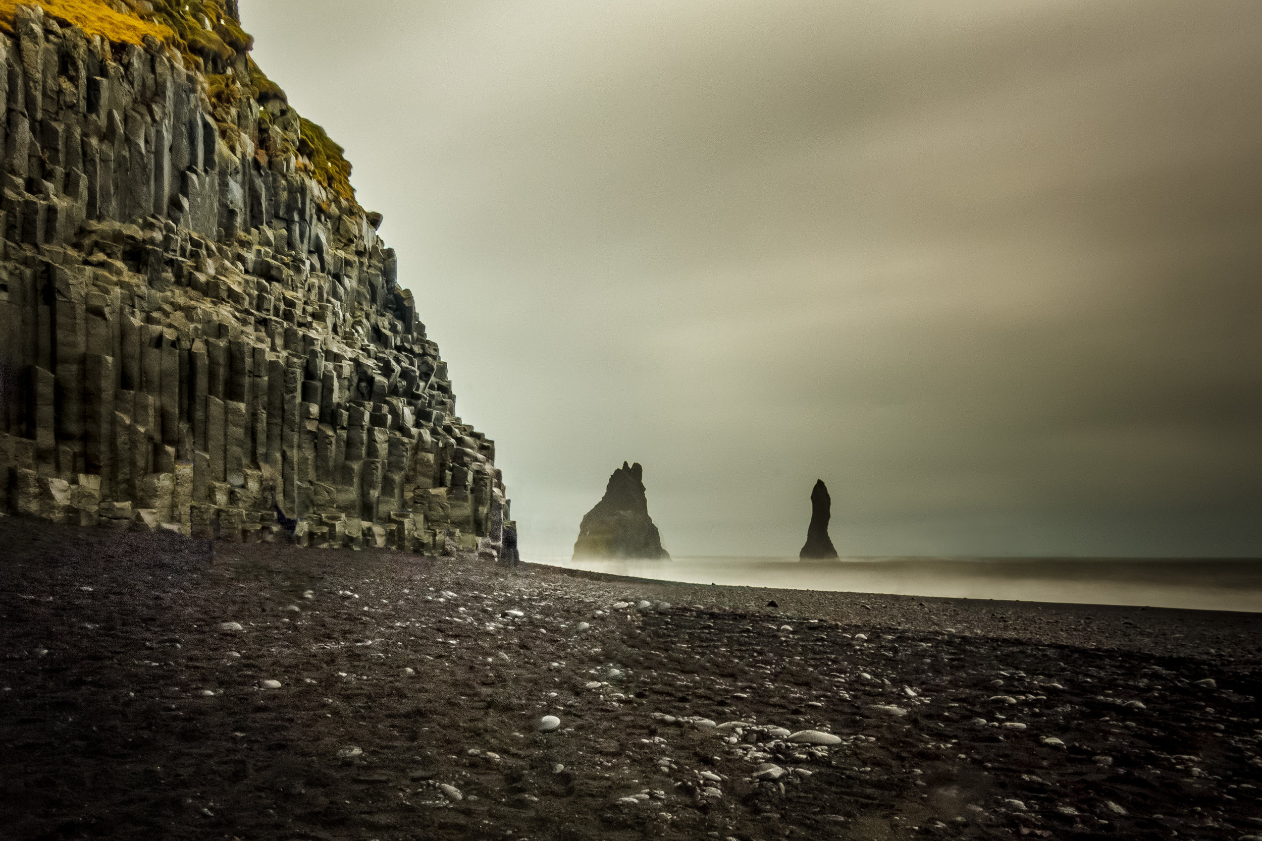 Here is the famous Black Sand Beach in Iceland. It was a gorgeous setting but it was raining and I was being rushed by my tour group. Consequently, the image isn't as sharp, there's no interesting foreground, and you don't get a sense of how grand those basalt columns are. I didn't do this location justice.
