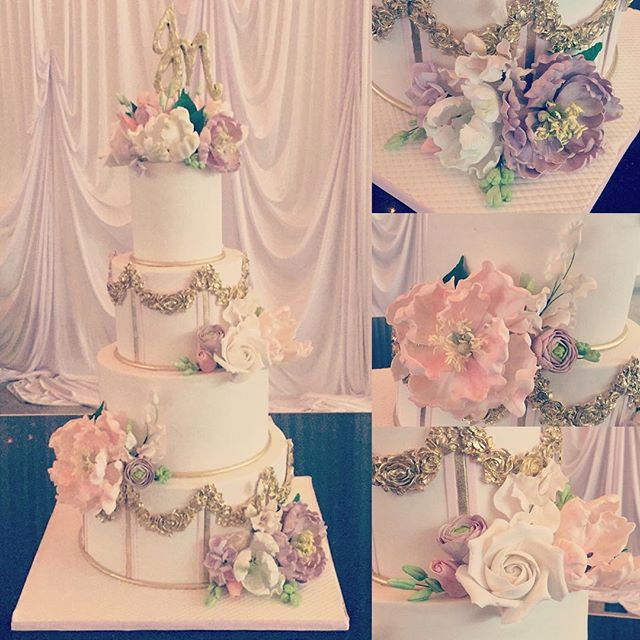 Celebrating @jinal519 and Namit tonight at my favorite venue @addisonparknj with @tomharmon @bridalgal #addisonpark #nj #nyc #philly #custom #cake #weddingcake #bestof #gold #pink #white #purple #dreamy