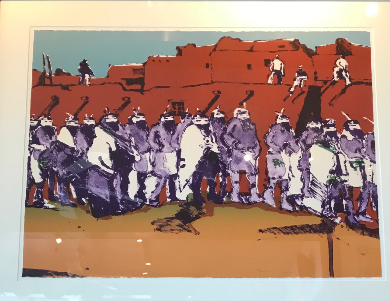 Dancers at Zuni, Scholder lithograph.