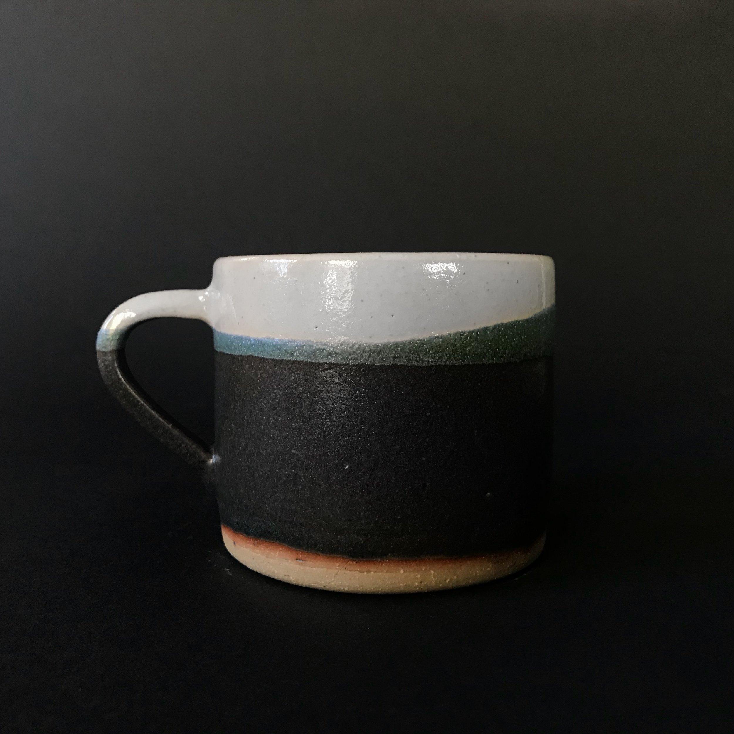 Stoneware mug, color blocked.