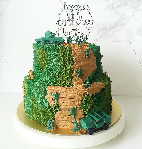 Fondant Army Theme Cake    Homemade by Rachel M.