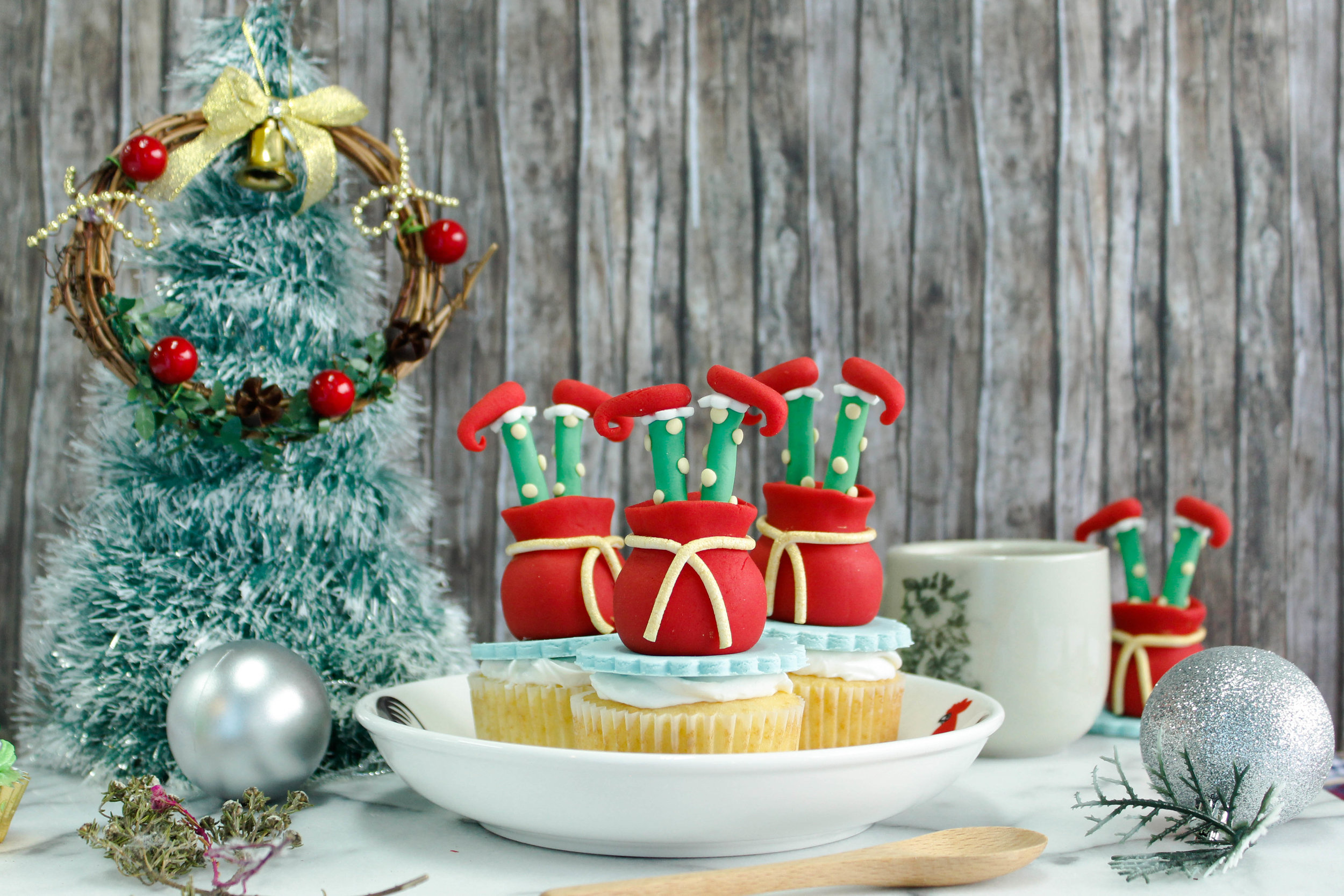 Upside Down Elf Fondant Cupcake   Homemade by Nova