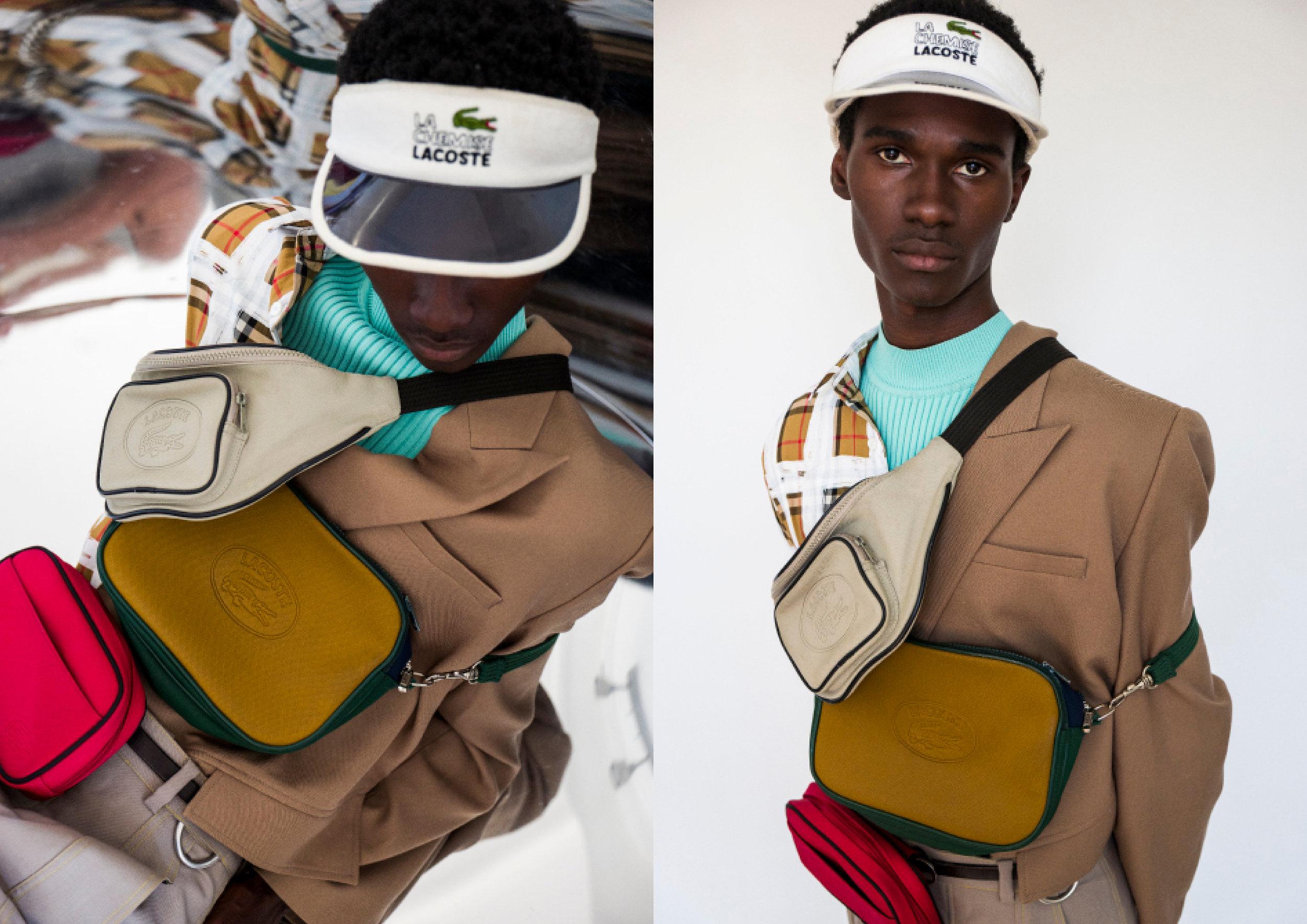 Headwear - Lacoste, Jacket - Burberry, Bags - Lacoste, Knit - Necessity Sense