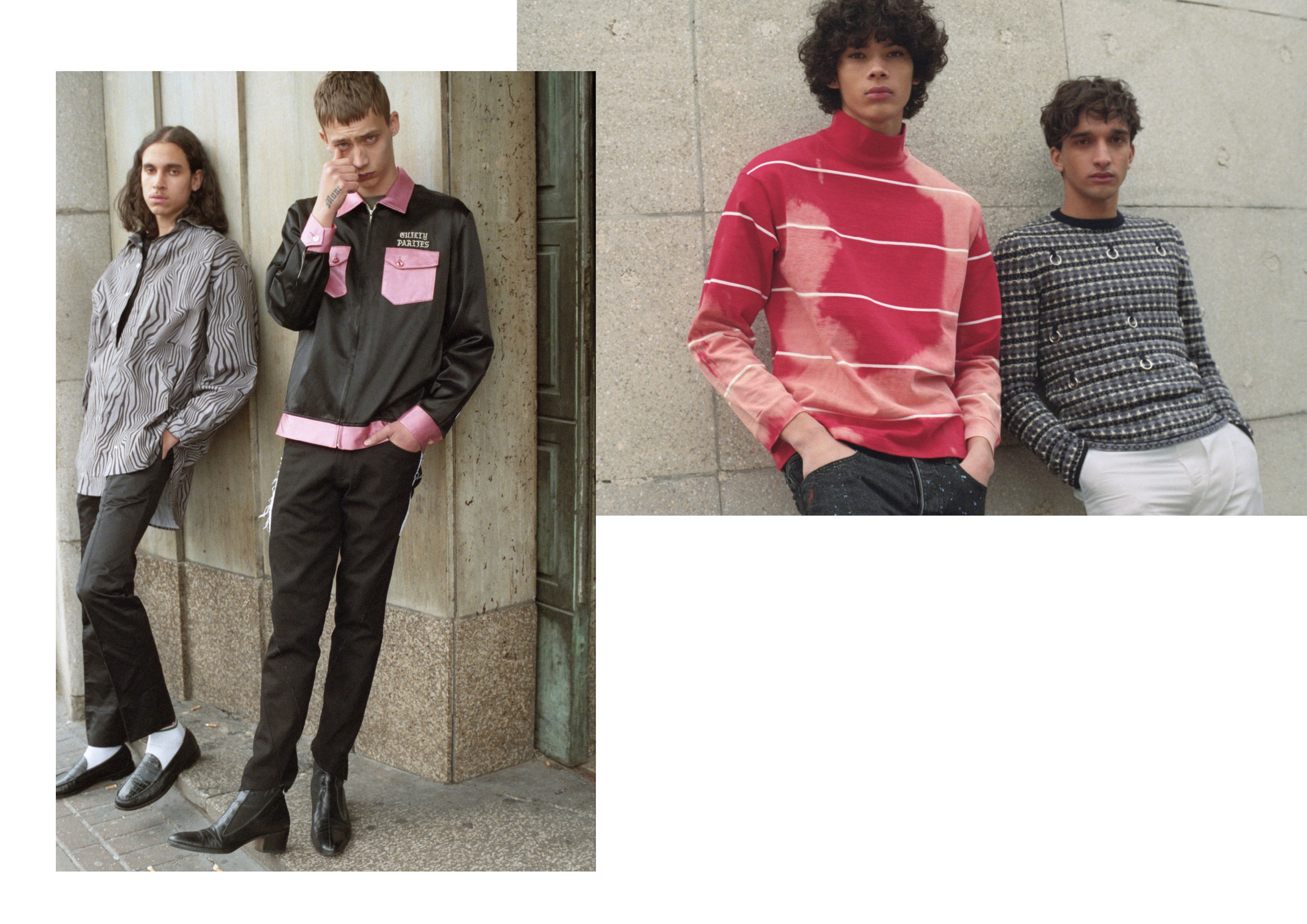 Left: Jamie: Jacket - Wacko Maria, T shirt - Norse Projects, Jeans - Per Gotesson, Boots - Vintage Dior Homme / stylists own Emmanuel: Shirt - Alex Mullins, Black T-shirt - Tourne De Transmission, Trousers stylists own Vintage Martyn Bal, Shoes - G H Bass.  Right: Noah: Jumper - Raf Simmos @ Browns, Trousers - Xander Zhou. Akeem: Turtleneck - Balenciaga @ Browns, Jeans - Reese copper.
