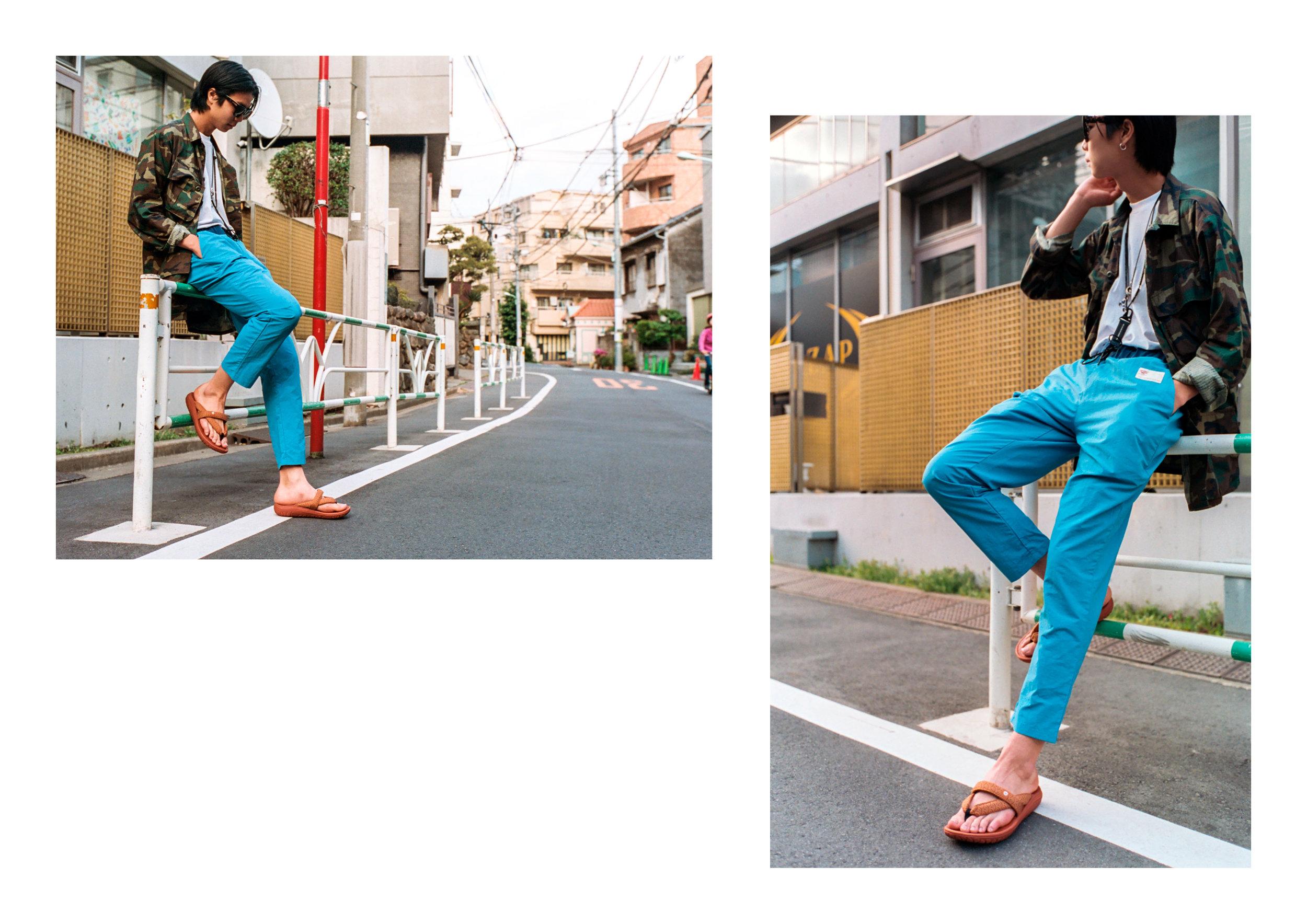 Jacket - Vintage, top, Pants & Sandals - Hi Tec Japan, Eye Wear - Ace & Tate