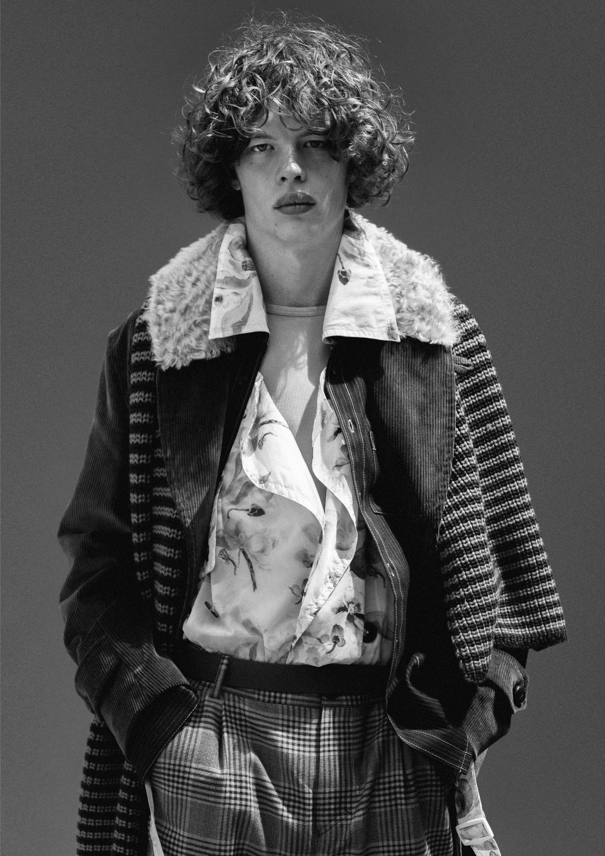 Corduroy Coat - Mackintosh Floral Trench Coat - Feng Chen Wang T-Shirt - Sunspel Trousers - Nanushka Scarf - Lou Dalton