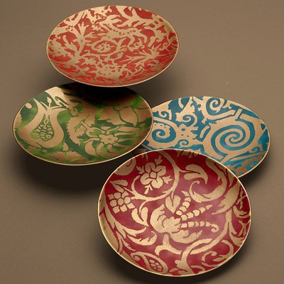Fortuny Dessert Plates    24k Gold and Earthenware