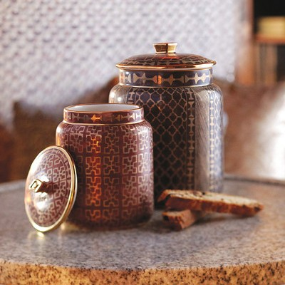 Fortuny Ashanti Canisters     24K Gold and Earthenware