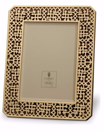 Frame     24K Gold-Plated and Beveled Glass Fortuny with Satin Lining and Suede Back