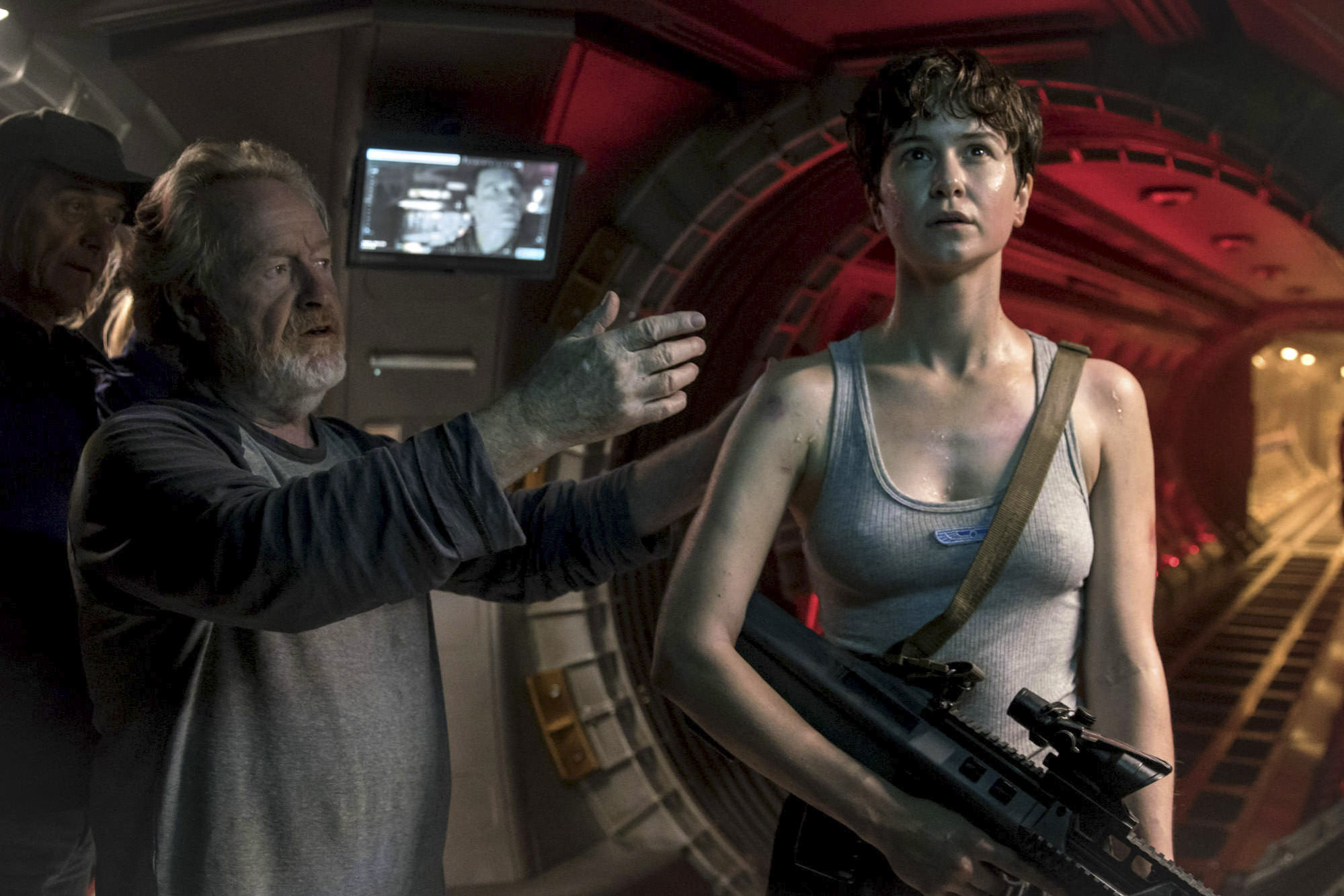 Director Ridley Scott and Katherine Waterston,  Alien: Covenant