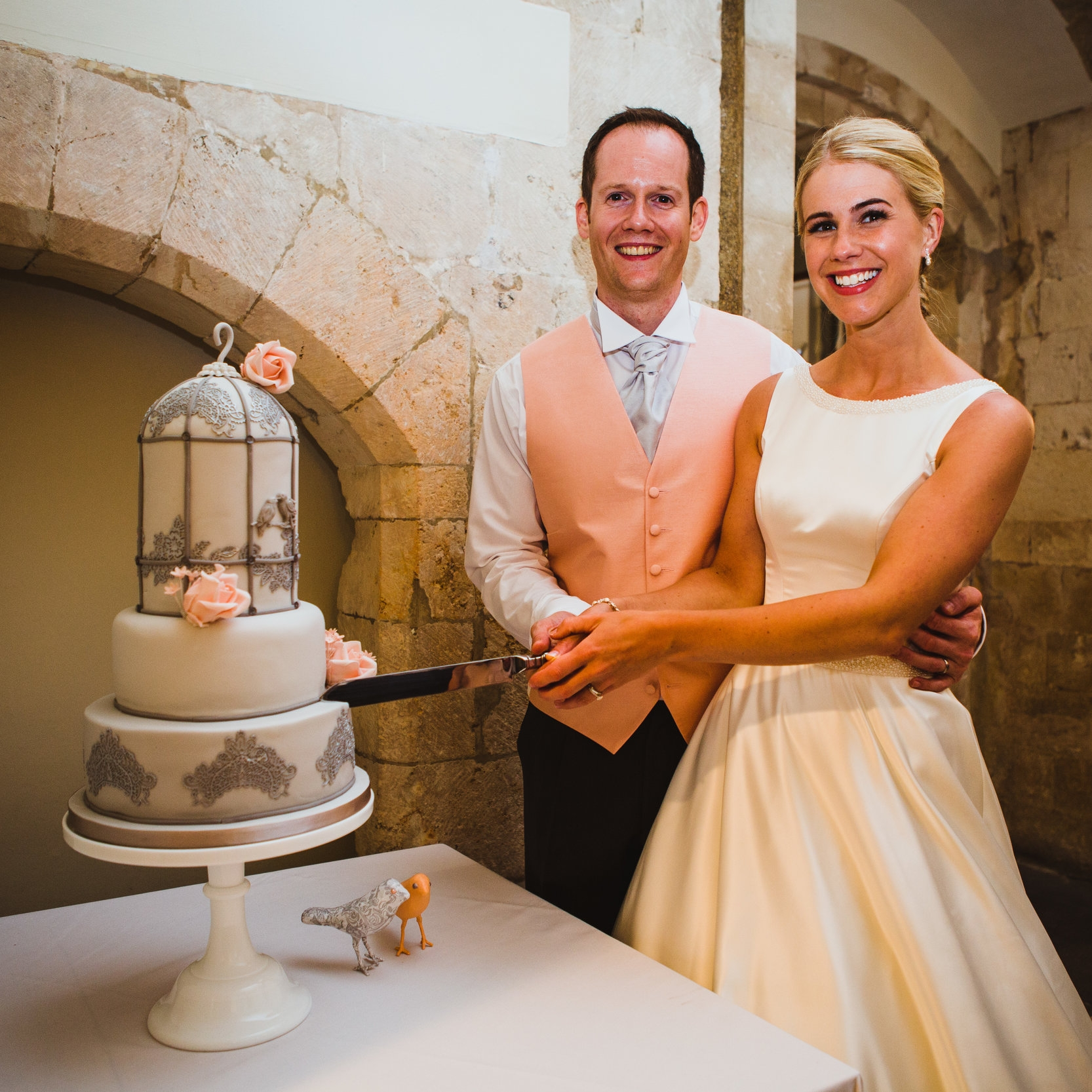 """""""Huge thanks for our fabulous wedding cake. You were able to bring our ideas together and help us visualise what we really wanted to achieve. We will definitely be back in touch!""""    Roberta & Neil"""