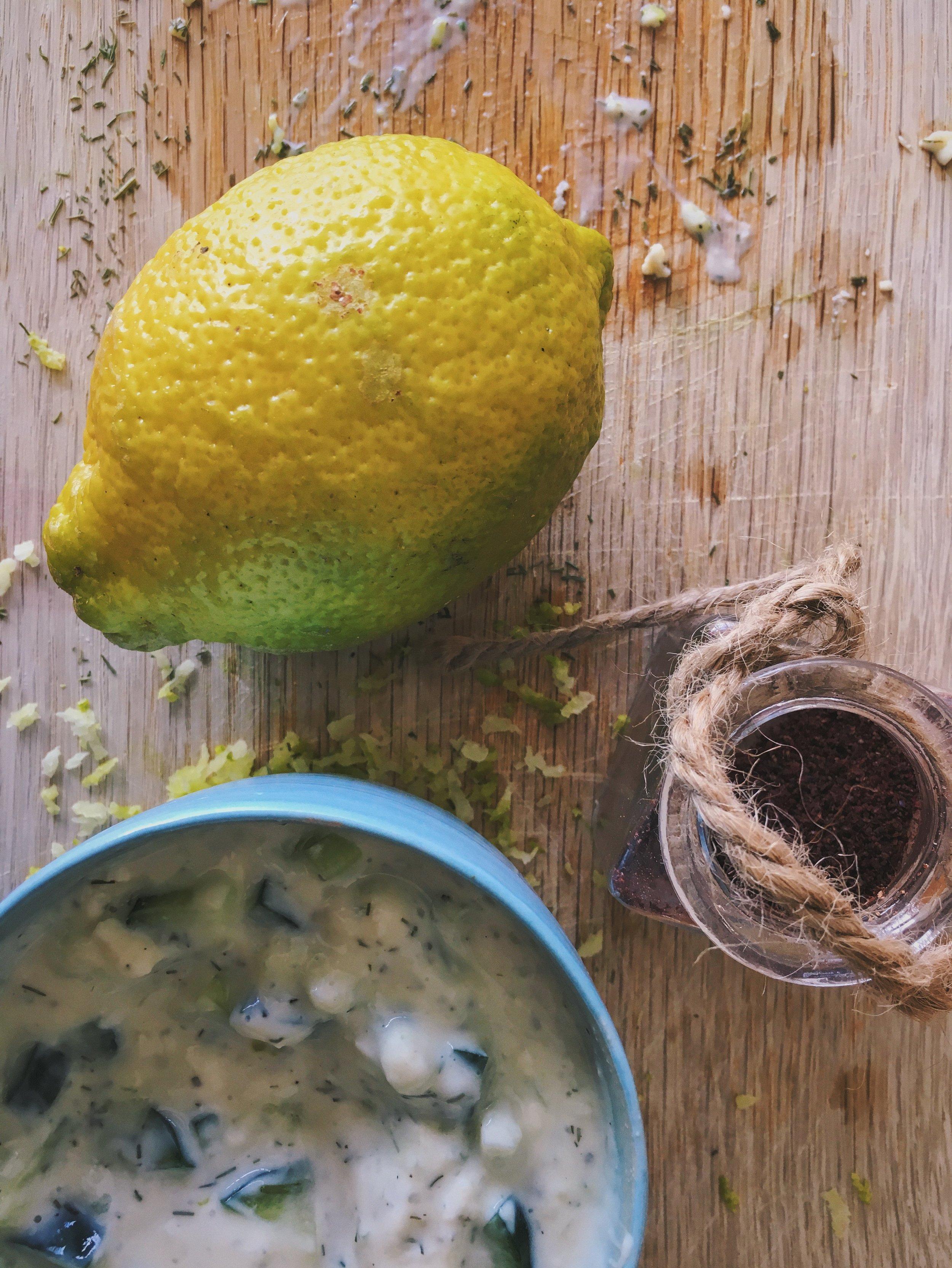 vegan tzatziki dip with lemon and za'atar spices