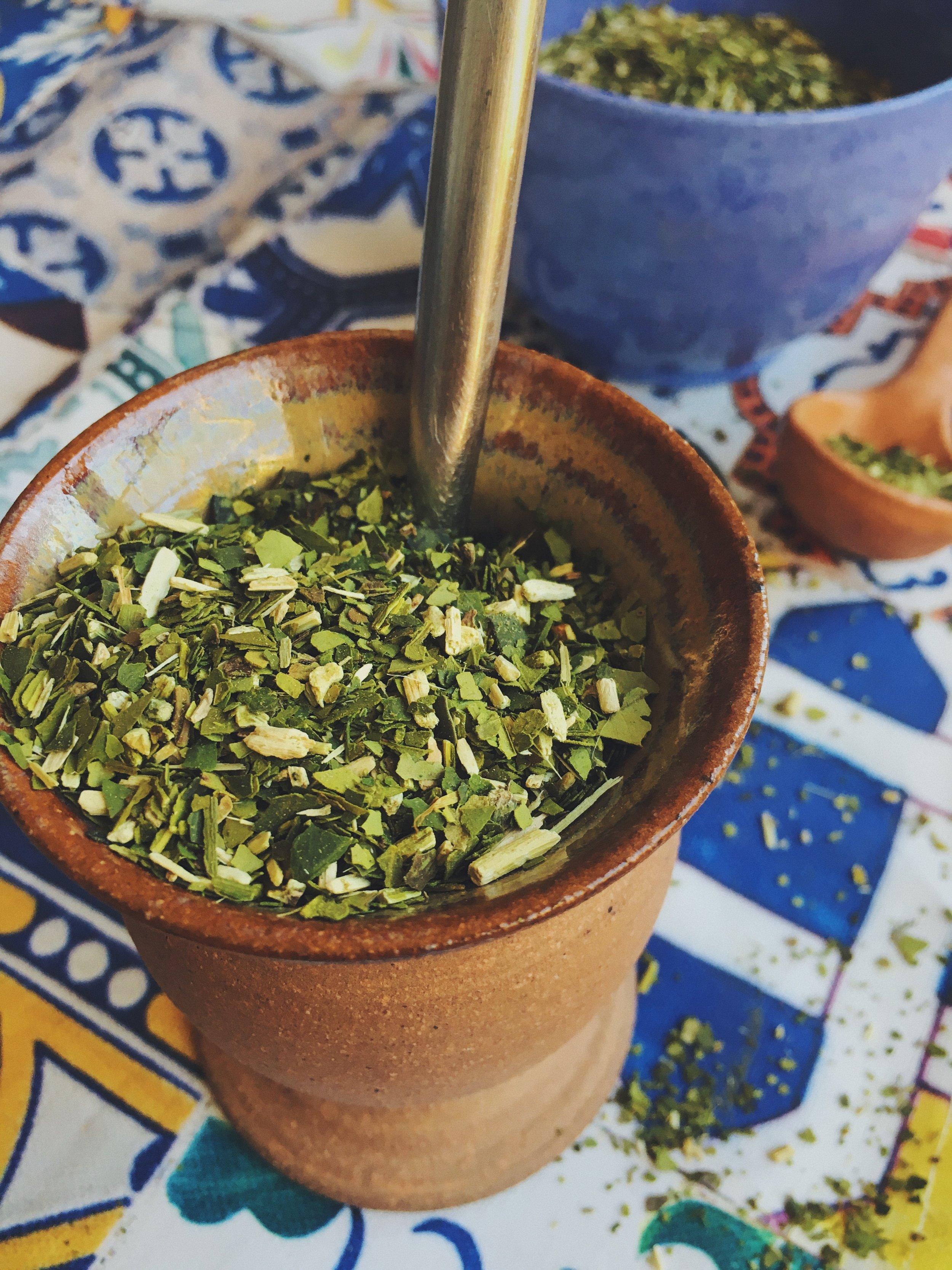 Coarsely ground yerba: Green gold goodness.
