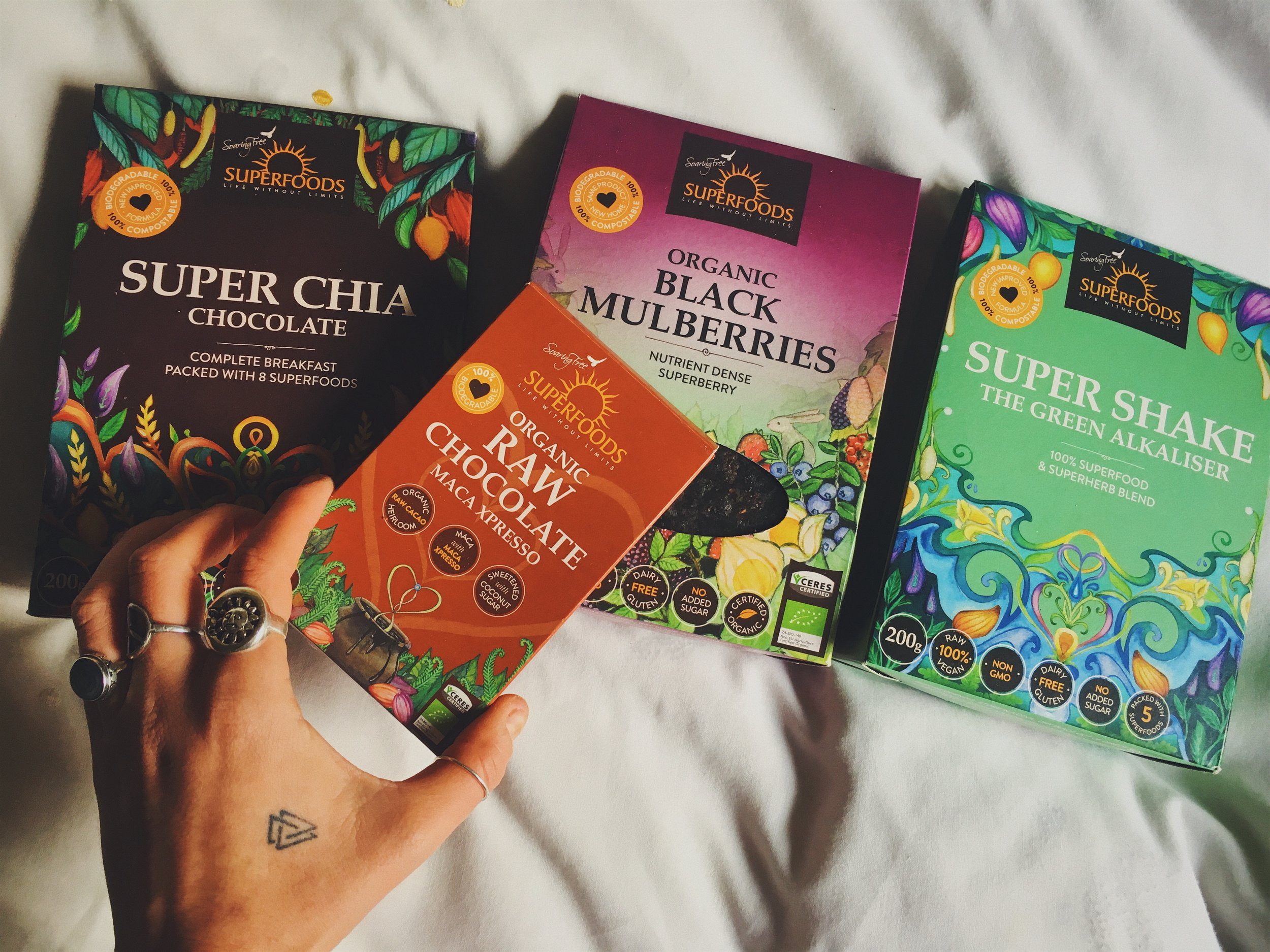 Happiness is eating superfood chocoalte in bed.