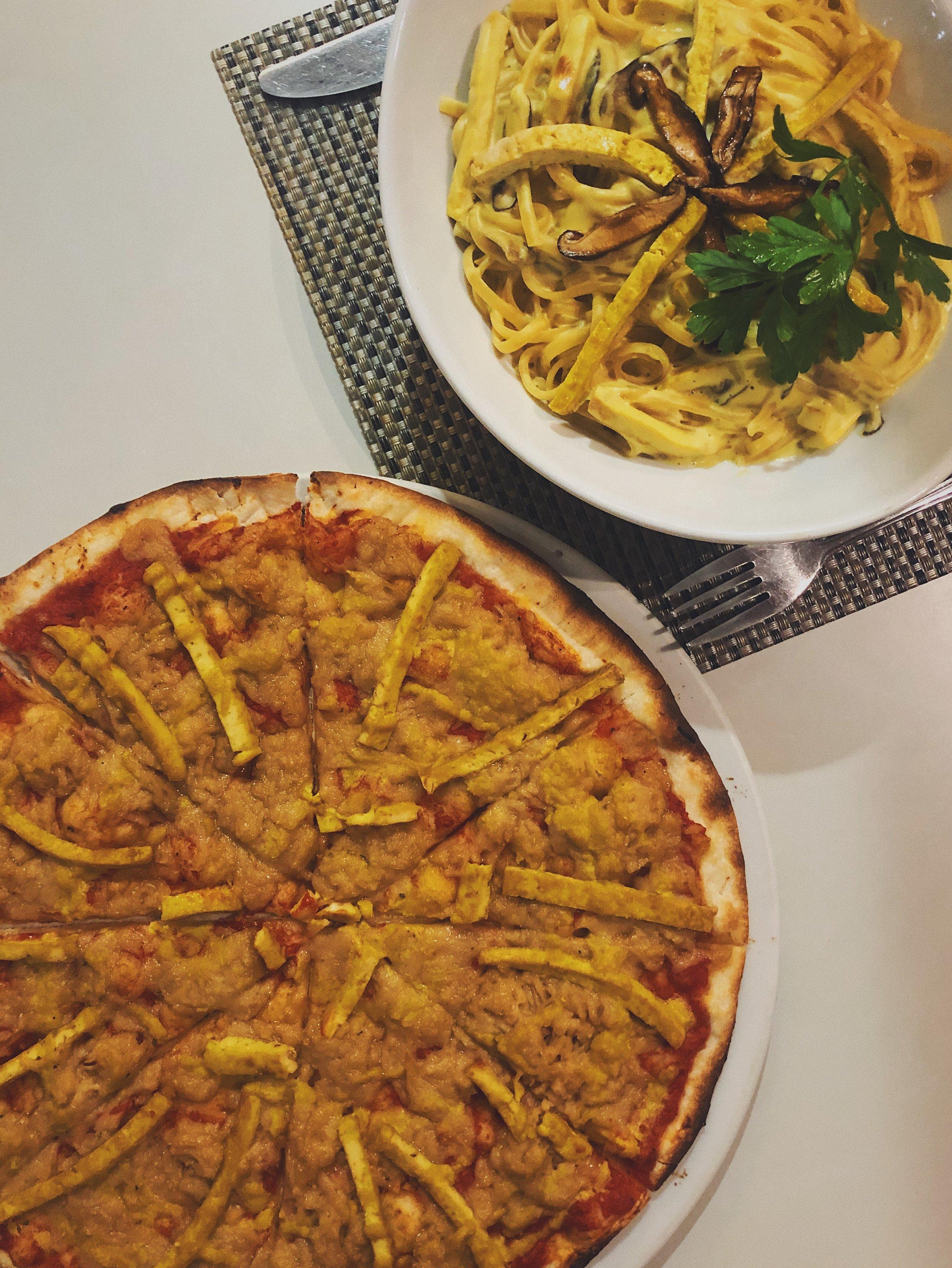 Pizza + pasta + tofu = my heart