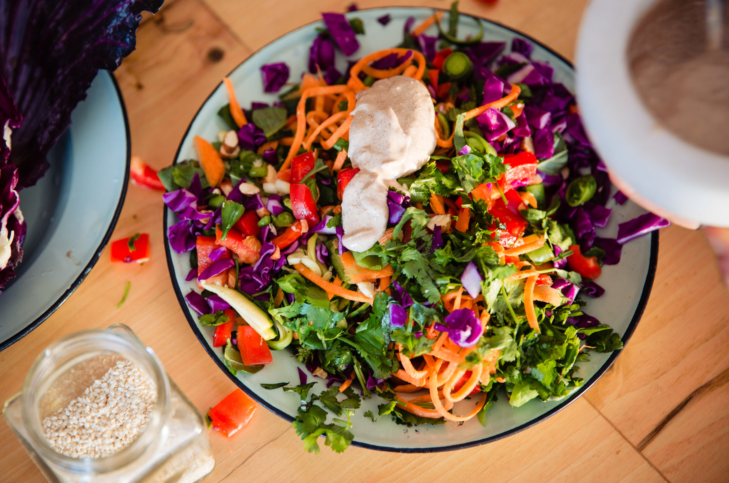 """Damn salad, you're looking good. Let me come on over"", said the nut butter sauce"