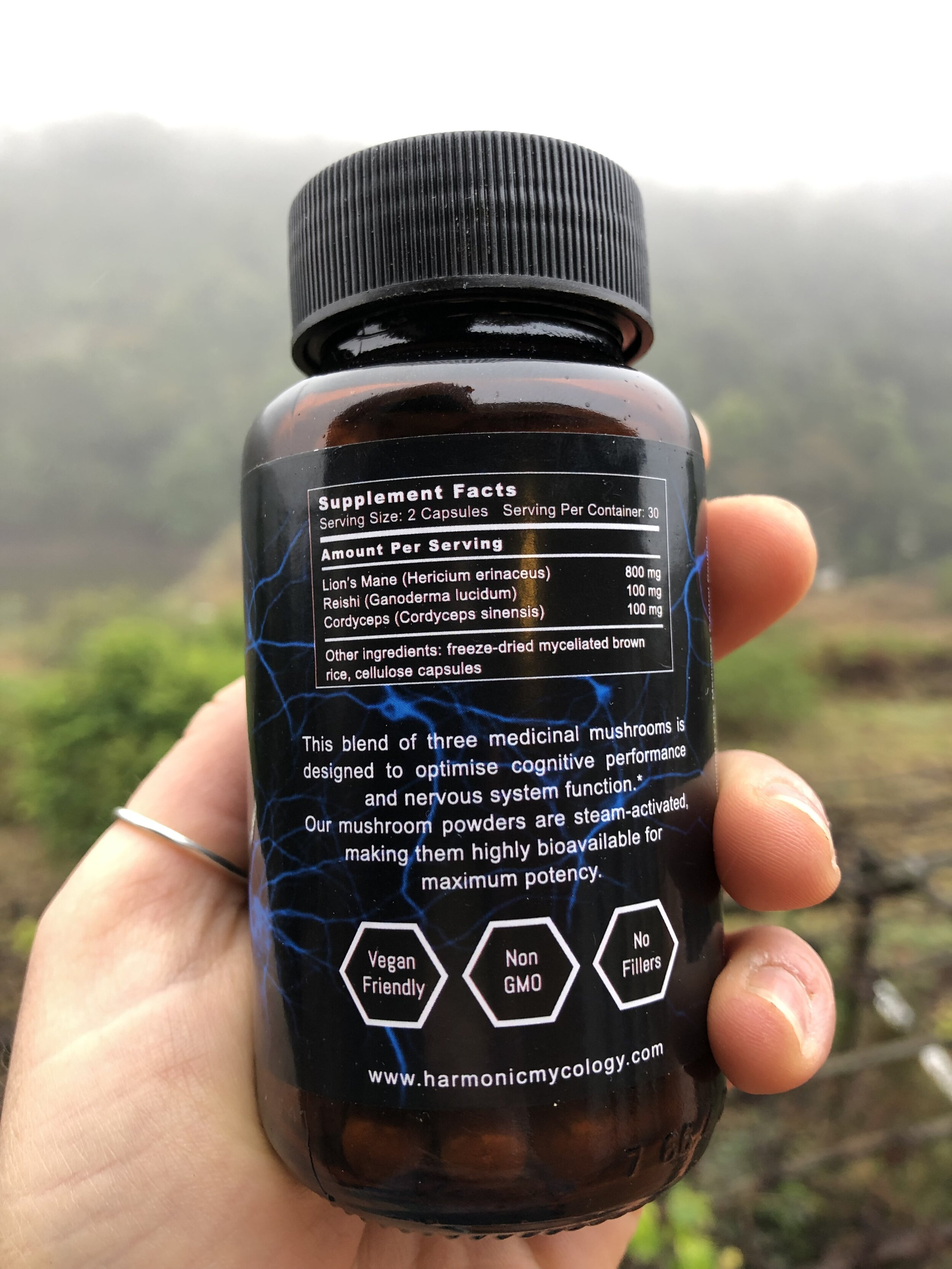 The delicious blend of shroomy ingredients. Recommended dosage is 2 capsules, taking you to 1g of medicinal mushrooms (500mg x 2).