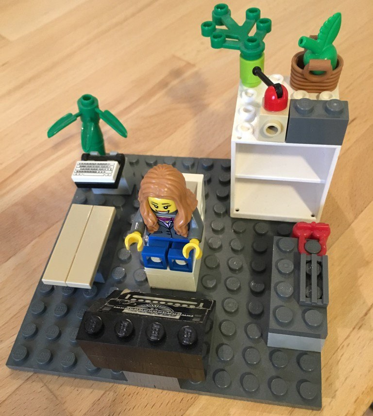 Me, depicted by my children, as a Lego writer at my typewriter. Uncanny.