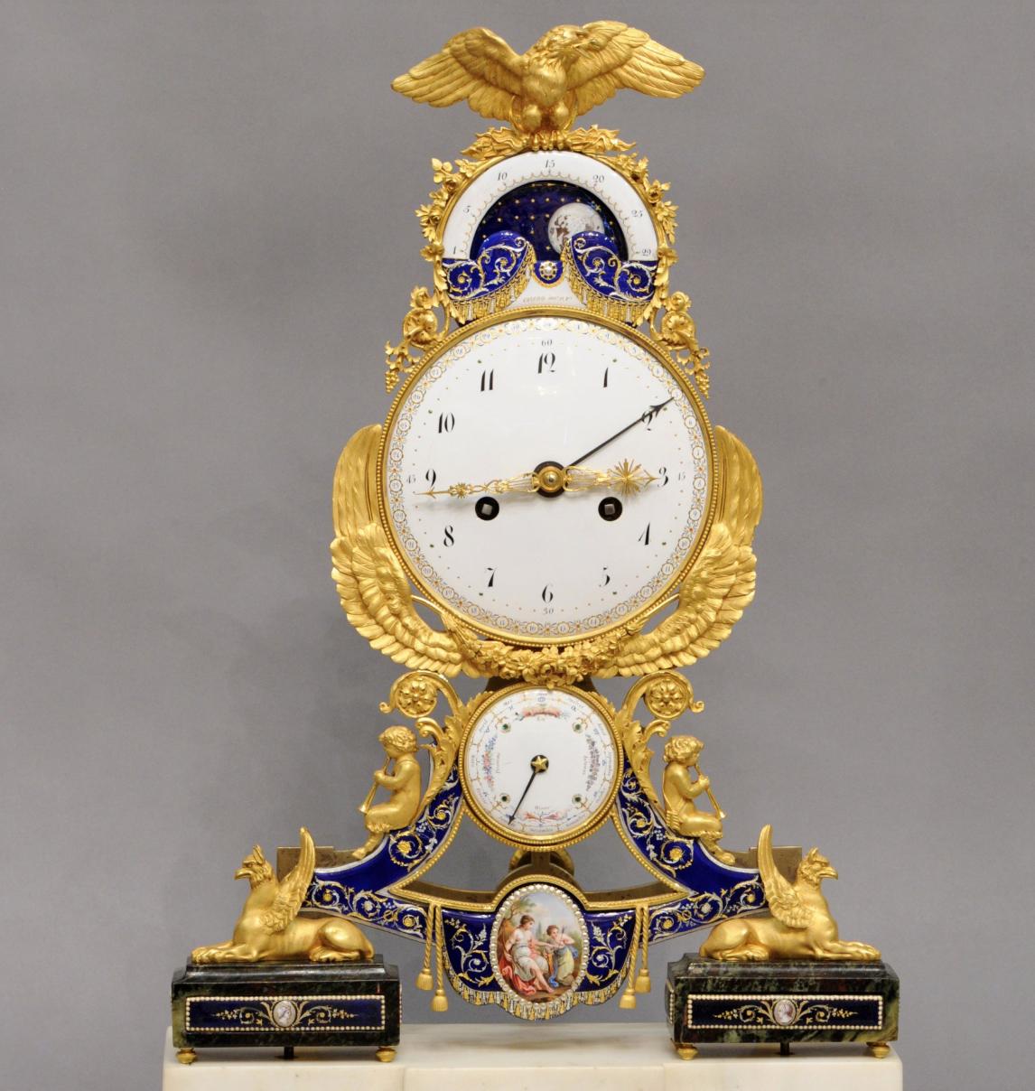 A beautiful  oseph Coteau, Mantel clock, 1796, France, enamelled bronze, gilt, marble.