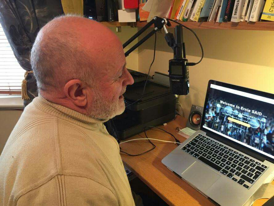 Ernie preparing a podcast