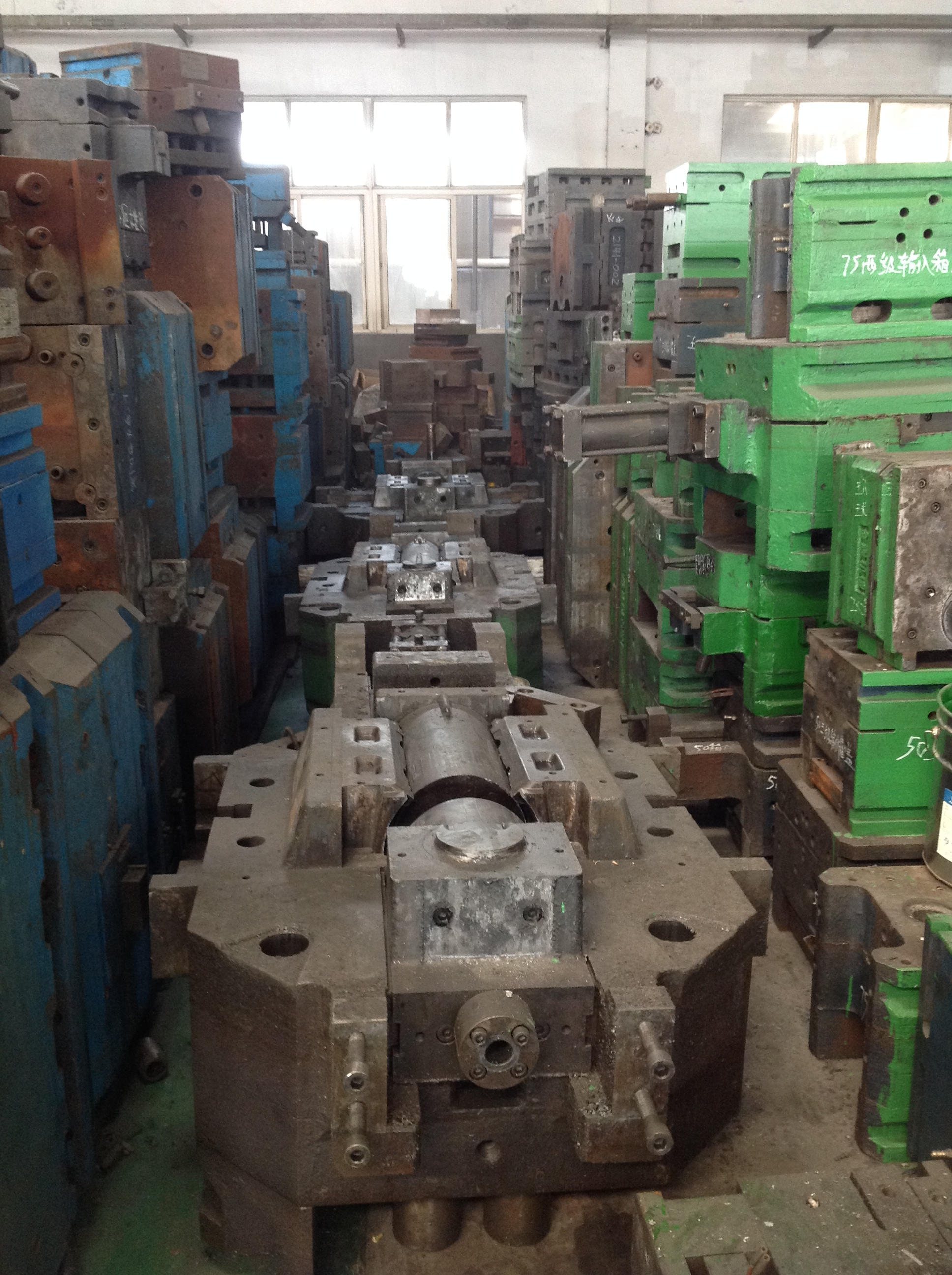 Large injection moulding tools in storage