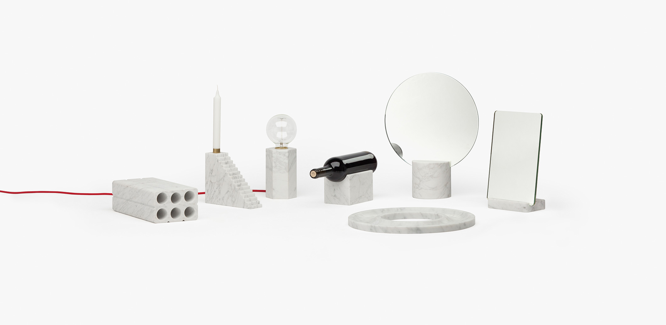 Marblelous collection: Brique limited edition, Stairs, Hex Lamp + Light bulb, Wine Holder, Sun mirror, Mirror, Ring Tray   - Aparentment