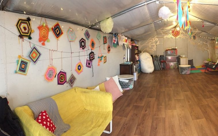 FEMALE-FRIENDLY SPACE - - Women-only events and activities- Sewing machines, knitting circles, self-care- Trauma-informed yoga- Variety of workshops, many led by the residents