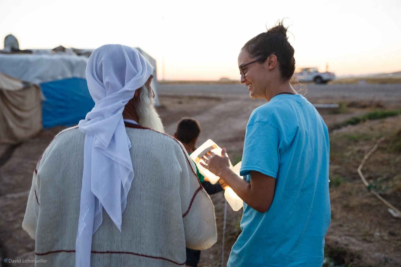 Molly distributing solar lights in Kurdistan. Photo by David Lohmueller