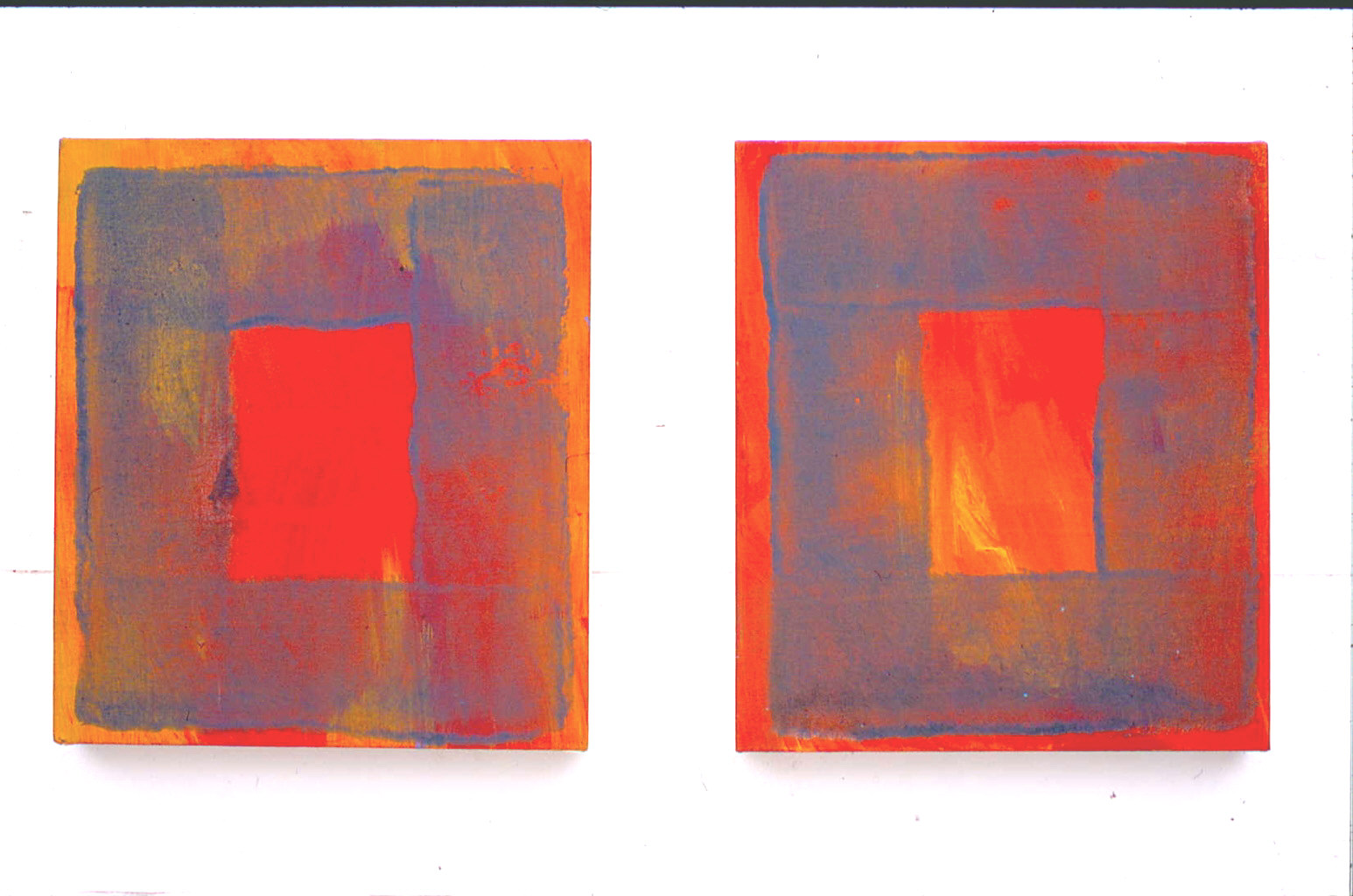 Orange study  acrylic on canvas  41cm x 36cm x 2  2001