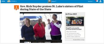 Gov. Rick Snyder praises St. Luke's sisters of Flint during State of the State   MLive – January 16, 2014