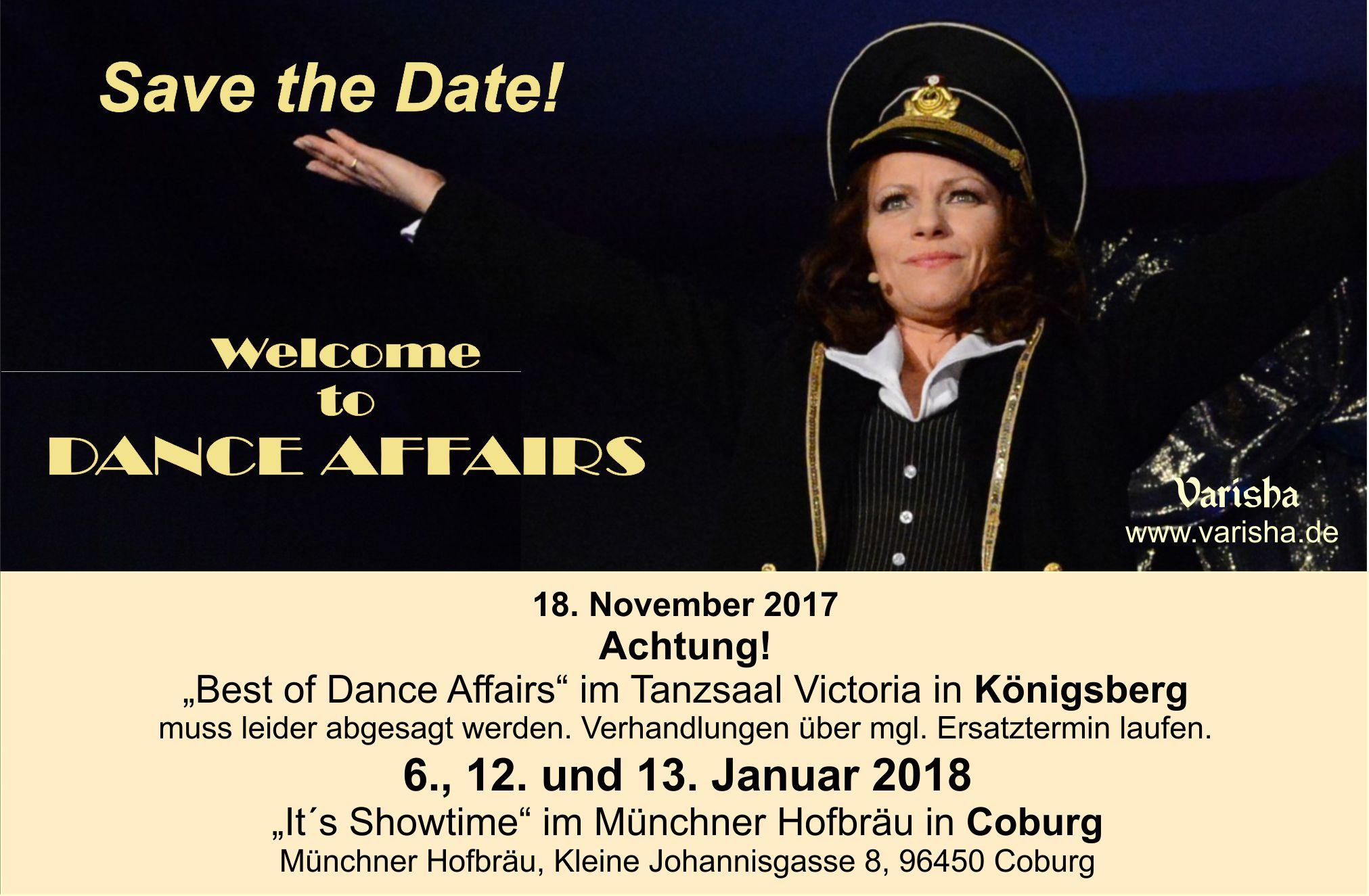 """Achtung! """"Best of Dance Affairs"""" am 18. November in Königsberg muss aus Gründen höherer Gewalt abgesagt werden. Über einen möglichen Ersatztermin stehen wir in Verhandlungen. Wir bitten um ihr Verständniss."""