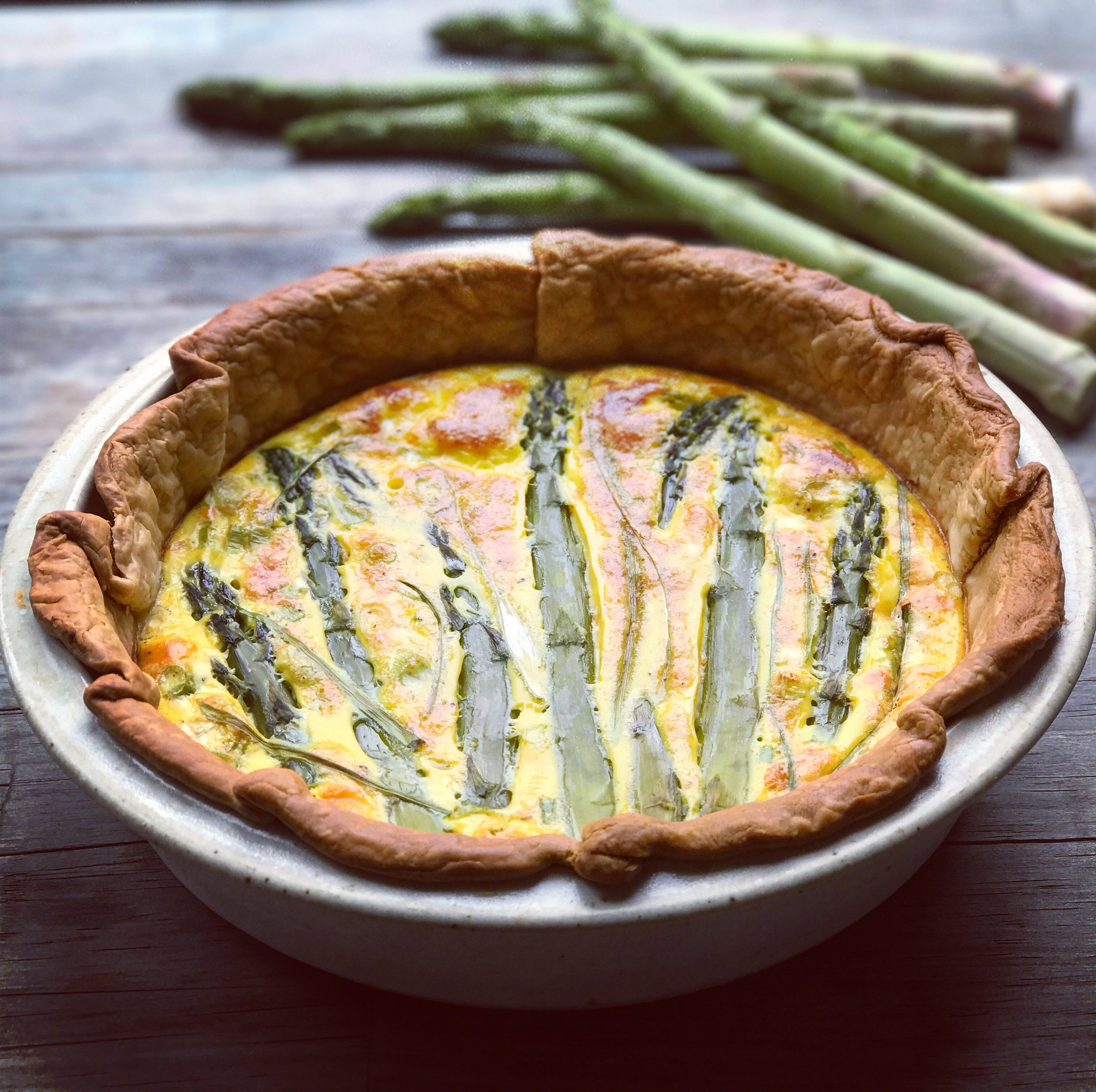 Bone Broth Asparagus Quiche recipe made with bone broth created by Bone Brewhouse.