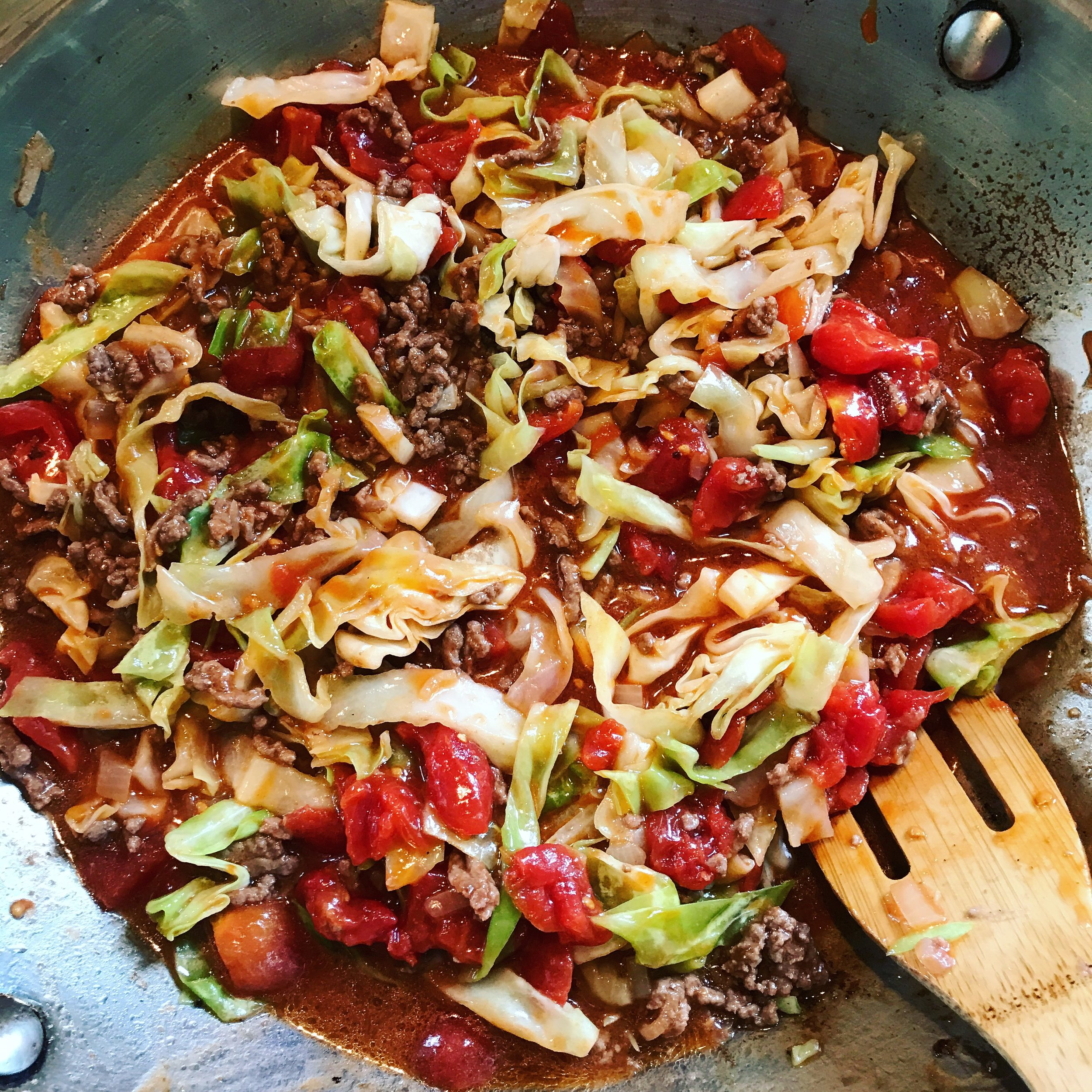 Deconstructed Cabbage Rolls recipe made with bone broth created by Bone Brewhouse.