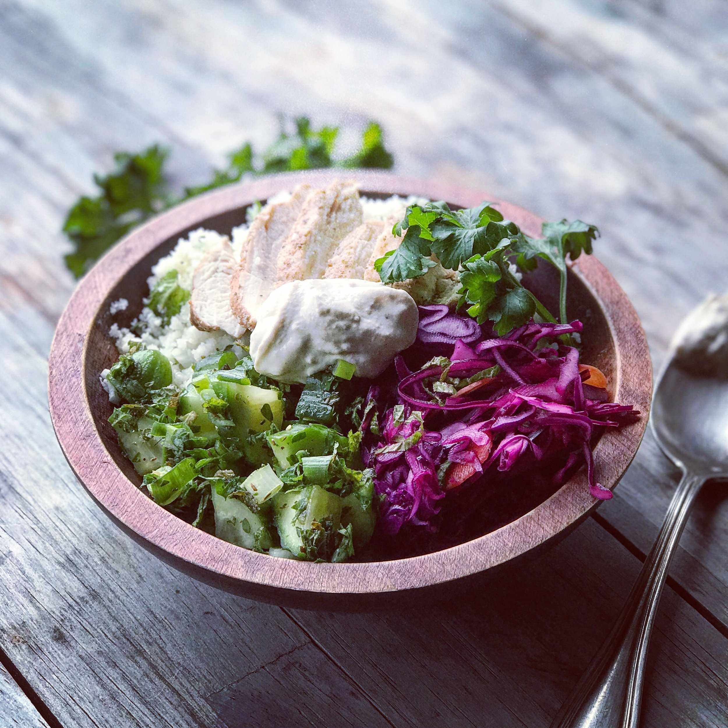 Bone Broth Chicken Shawarma Bowl recipe made from chicken bone broth created by Bone Brewhouse.