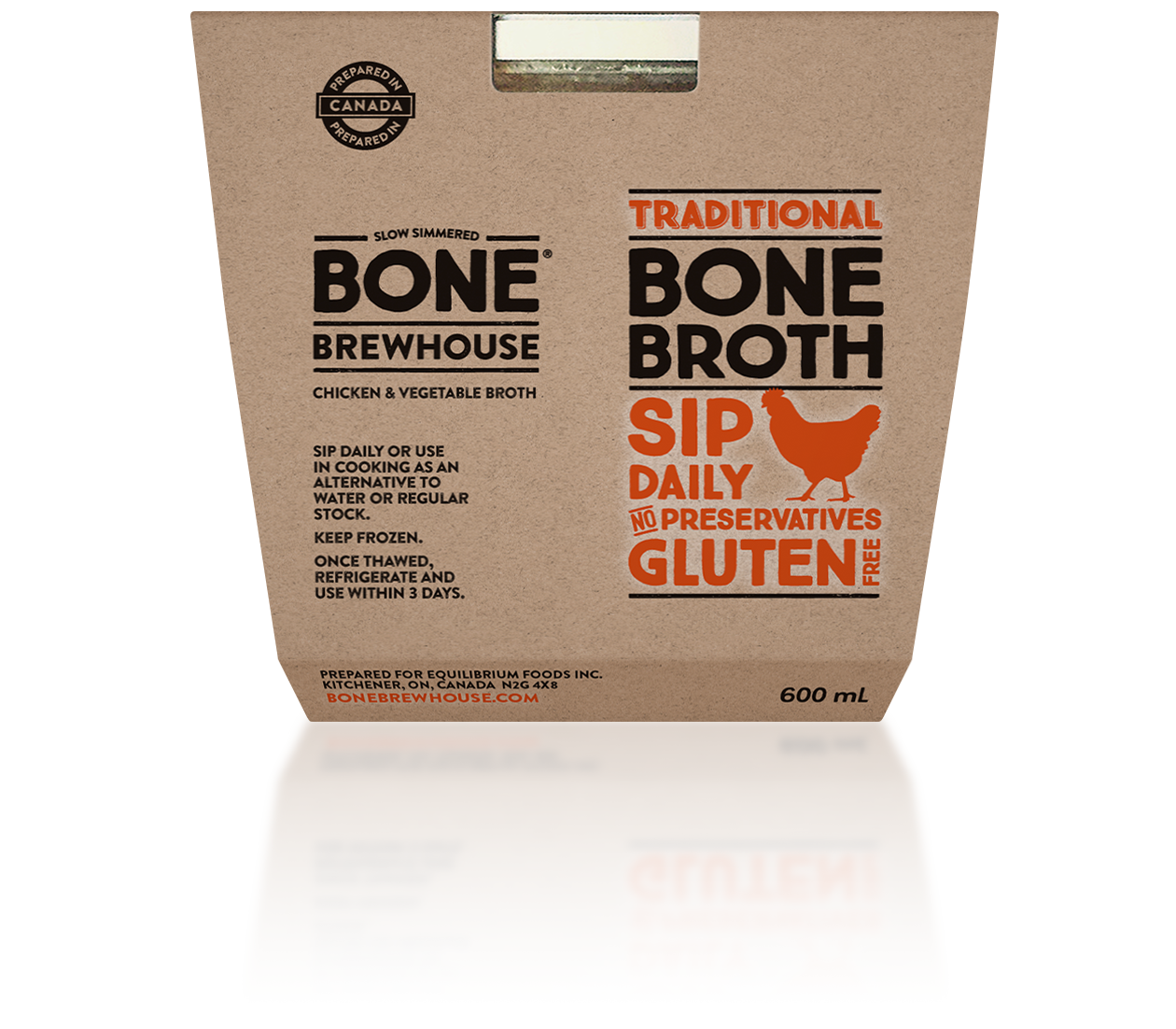 Packaging for traditional chicken bone broth made by Bone Brewhouse.
