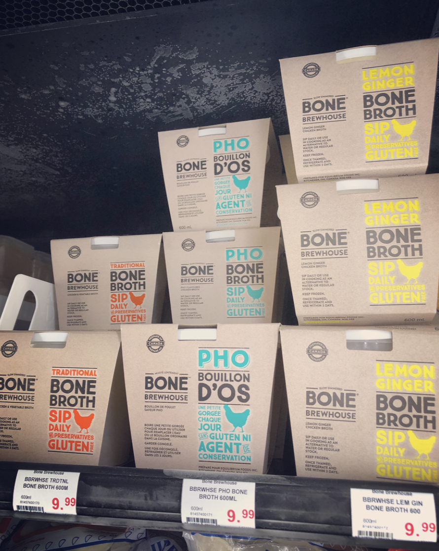 Bone Brewhouse broths in retail freezer