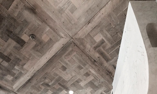 Project: Reclaimed wood ceiling panels