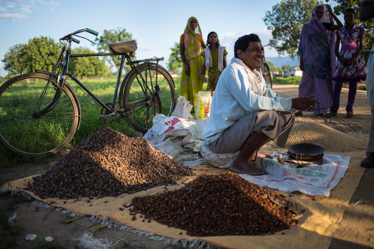 A trader at the Amelia's weekly market selling dried  mahua  flowers. These are used in the local cuisine, medicines, cosmetics and a popular alcoholic drink – a kilo of these flowers can fetch up to Rs 25 in the local market.