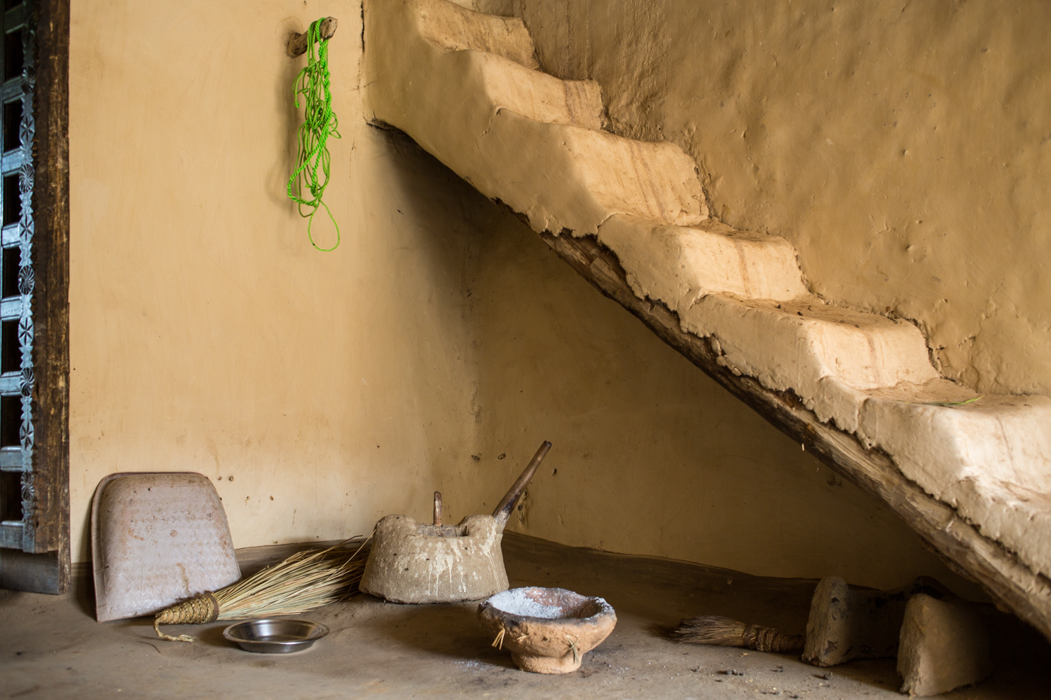 The interior of a house in Pedtali village.