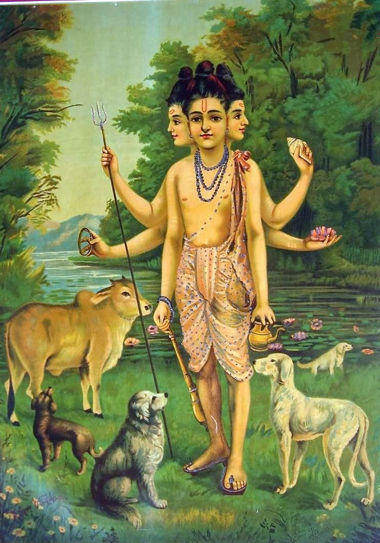 Raja Ravi Varma's rendition of the mythical saint Dattatreya (Source:   Wikipedia )