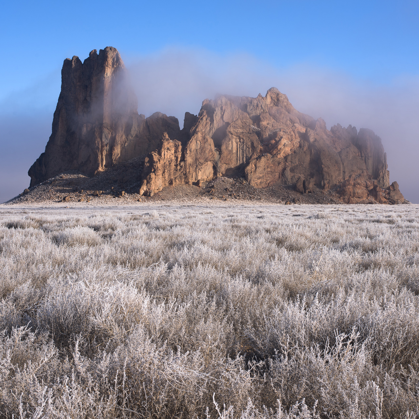 Frost rolls across the New Mexican Desert.