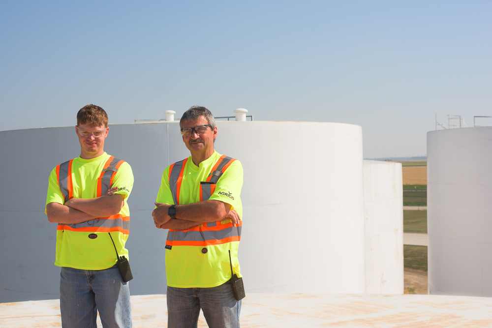 On top of some really large fertilizer bins. © Robert Lowdon
