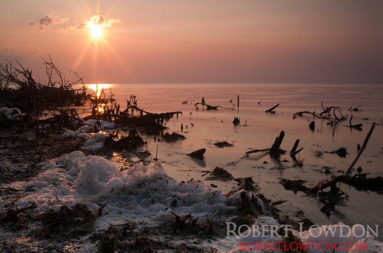 Foam.  Algae pollution on Lake Manitoba, Canada