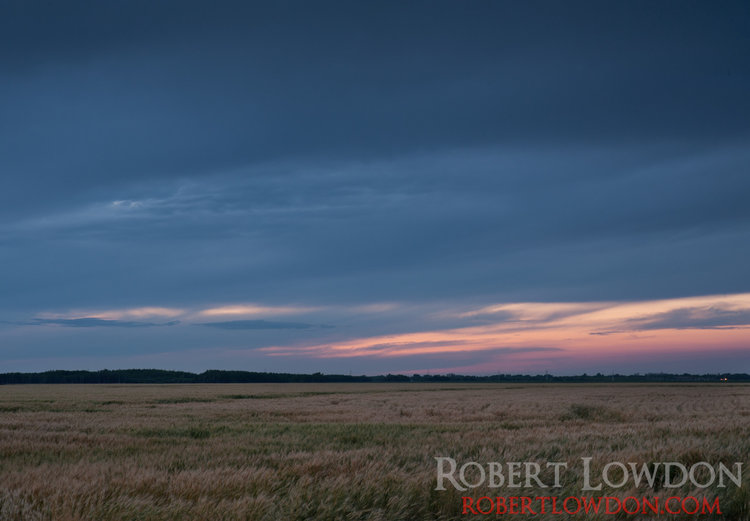 Something Blue.  After sunset on the fields of Southern Manitoba