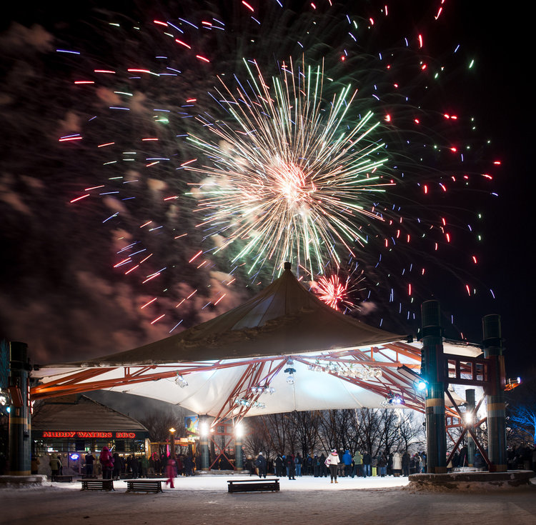 Boom!  The Forks New Years Eve Winnipeg, MB. Photograph of Fireworks
