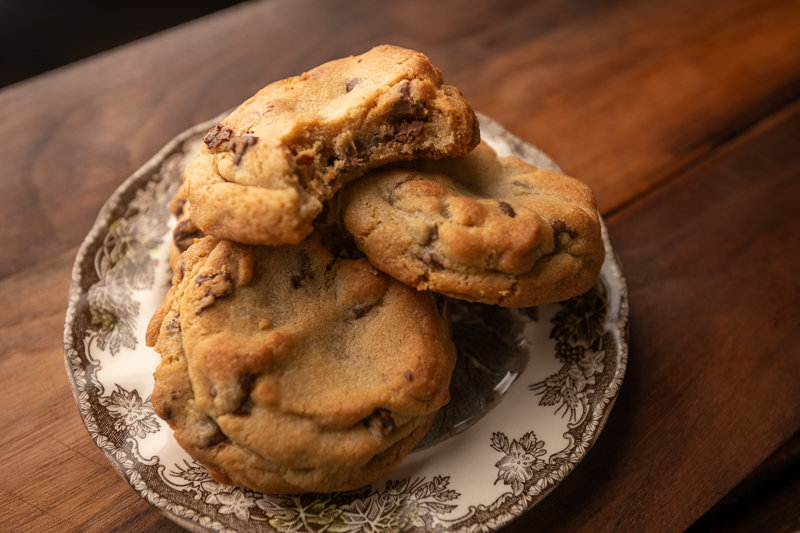 Cookies stacked on a plate. © Robert Lowdon