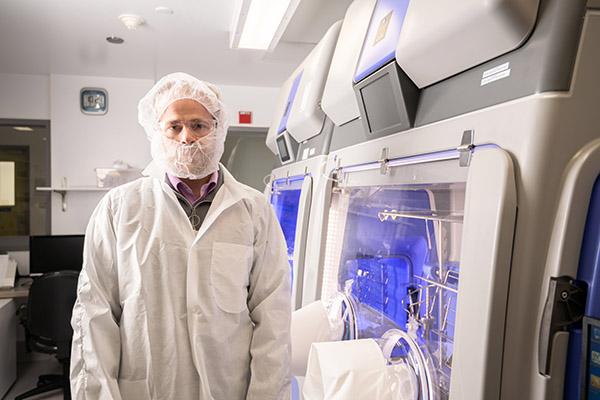 A lab technician inside a laboratory